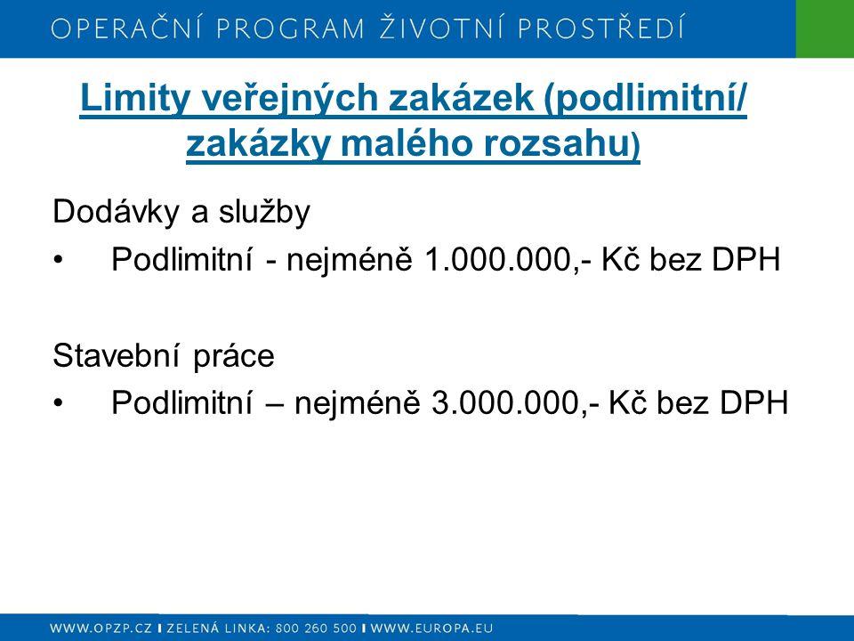 Limity veřejných zakázek (podlimitní/ zakázky malého rozsahu ) Dodávky a služby Podlimitní - nejméně 1.000.000,- Kč bez DPH Stavební práce Podlimitní – nejméně 3.000.000,- Kč bez DPH