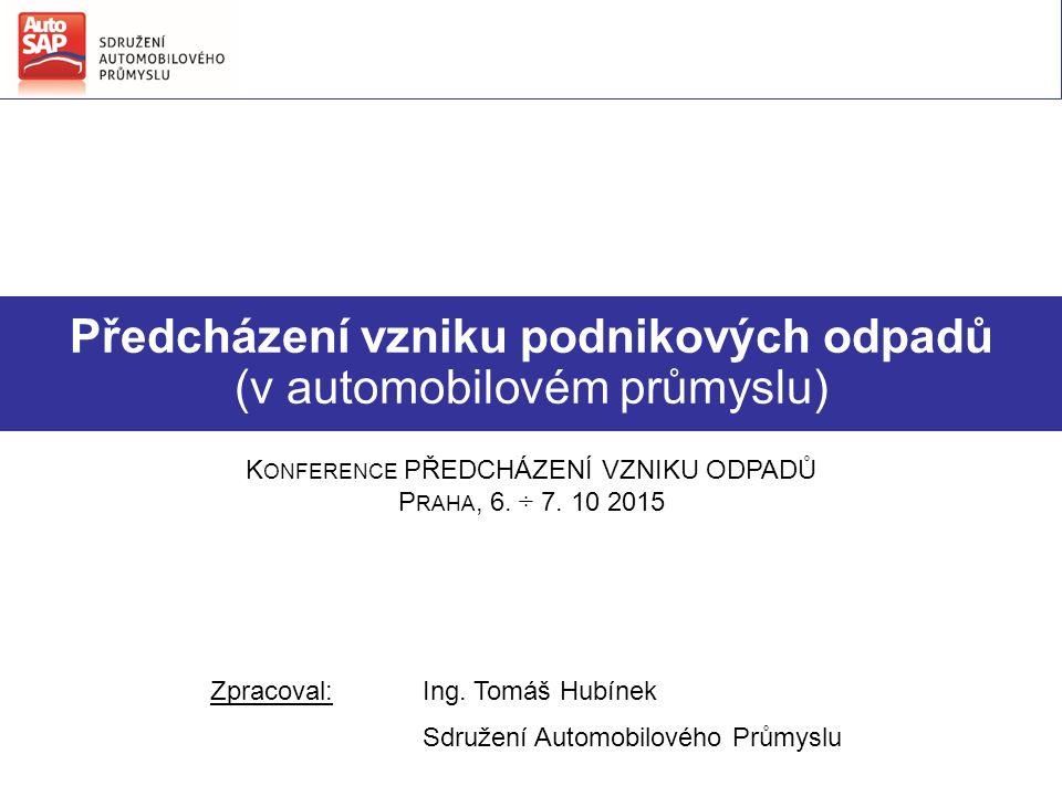 Předcházení vzniku podnikových odpadů (v automobilovém průmyslu) Zpracoval:Ing.
