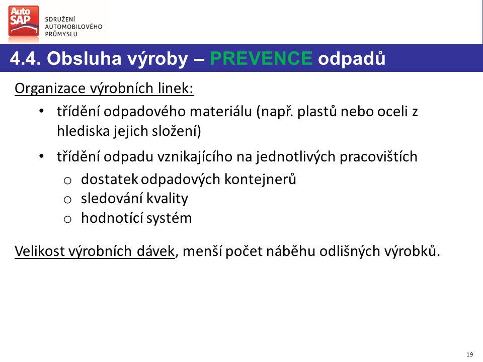 Organizace výrobních linek: třídění odpadového materiálu (např.
