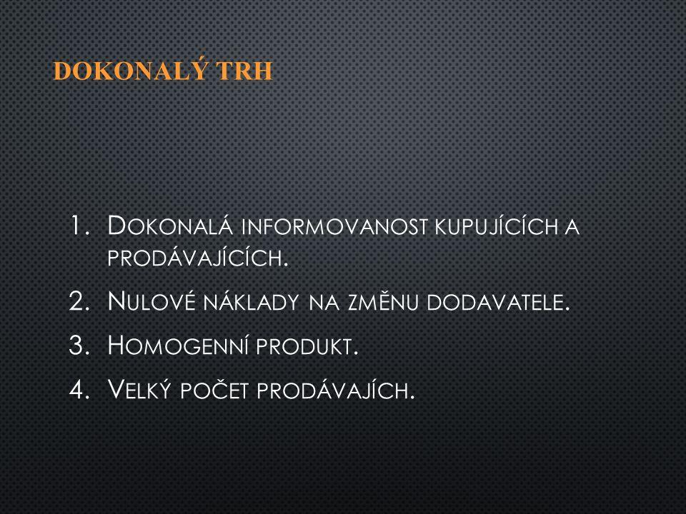DOKONALÝ TRH 1. 1.D OKONALÁ INFORMOVANOST KUPUJÍCÍCH A PRODÁVAJÍCÍCH.