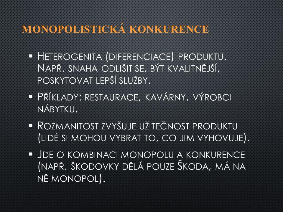 MONOPOLISTICKÁ KONKURENCE   H ETEROGENITA ( DIFERENCIACE ) PRODUKTU.