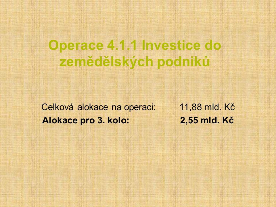 Operace 4.1.1 Investice do zemědělských podniků Celková alokace na operaci:11,88 mld. Kč Alokace pro 3. kolo:2,55 mld. Kč