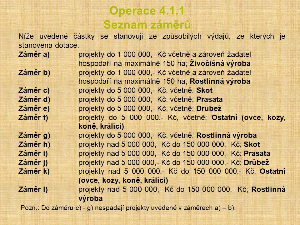 Operace 4.1.1 Seznam záměrů Níže uvedené částky se stanovují ze způsobilých výdajů, ze kterých je stanovena dotace. Záměr a) projekty do 1 000 000,- K