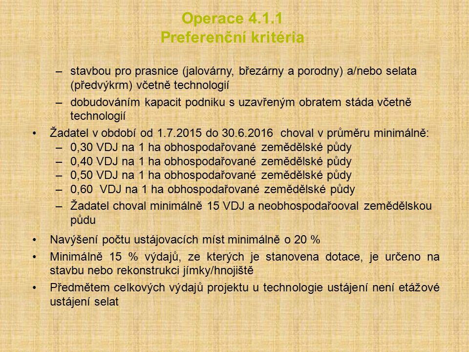 Operace 4.1.1 Preferenční kritéria –stavbou pro prasnice (jalovárny, březárny a porodny) a/nebo selata (předvýkrm) včetně technologií –dobudováním kap