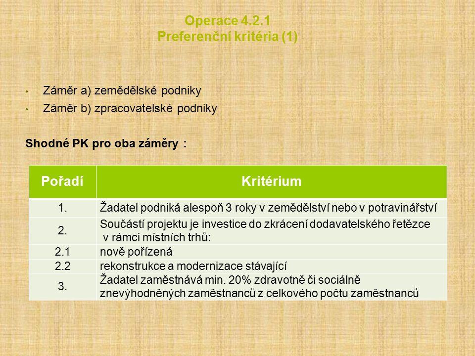 Operace 4.2.1 Preferenční kritéria (1) Záměr a) zemědělské podniky Záměr b) zpracovatelské podniky Shodné PK pro oba záměry : PořadíKritérium 1.Žadatel podniká alespoň 3 roky v zemědělství nebo v potravinářství 2.