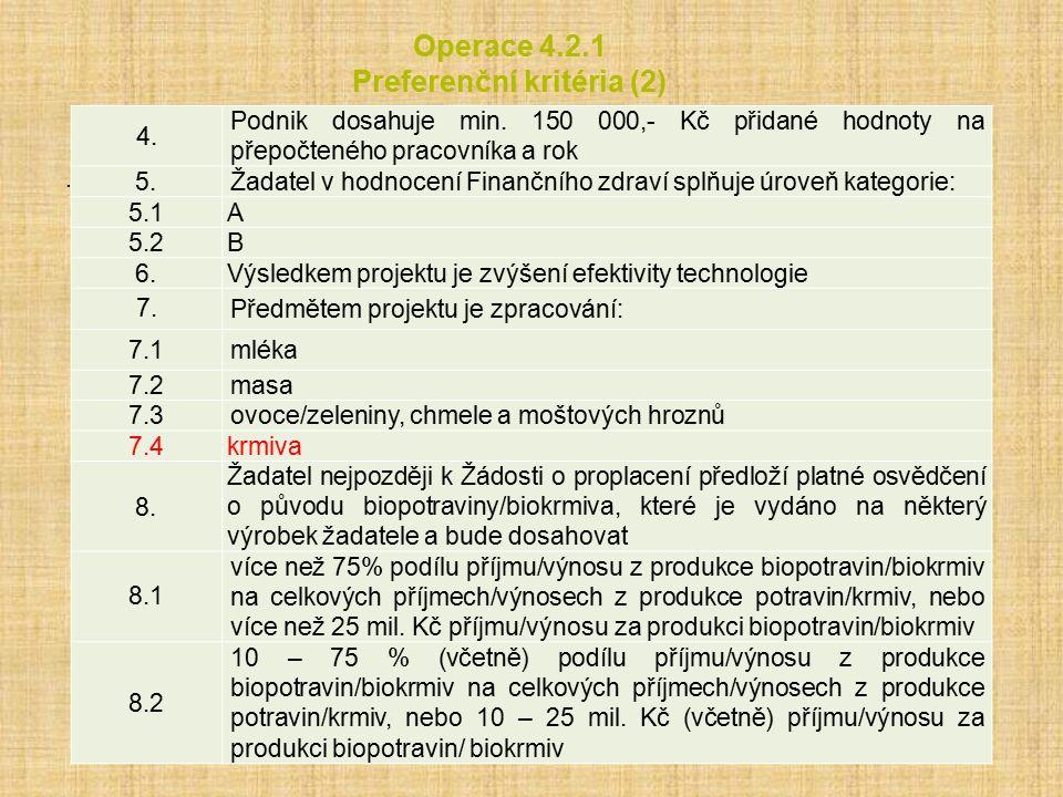 Operace 4.2.1 Preferenční kritéria (2).4. Podnik dosahuje min.