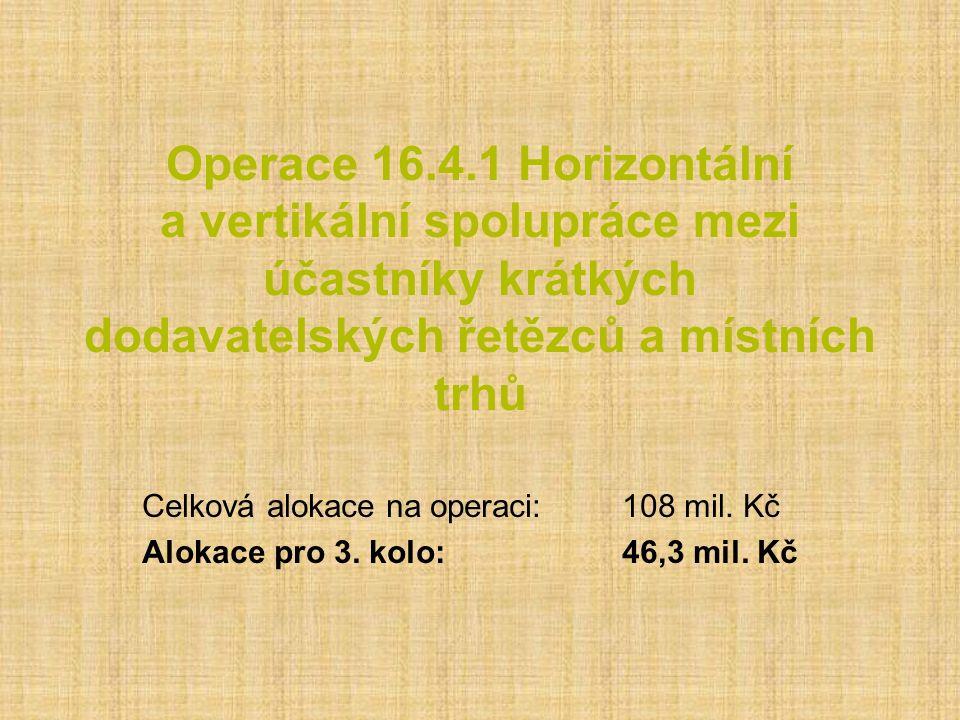Operace 16.4.1 Horizontální a vertikální spolupráce mezi účastníky krátkých dodavatelských řetězců a místních trhů Celková alokace na operaci:108 mil.