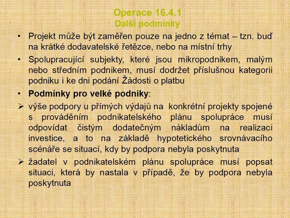 Operace 16.4.1 Další podmínky Projekt může být zaměřen pouze na jedno z témat – tzn.