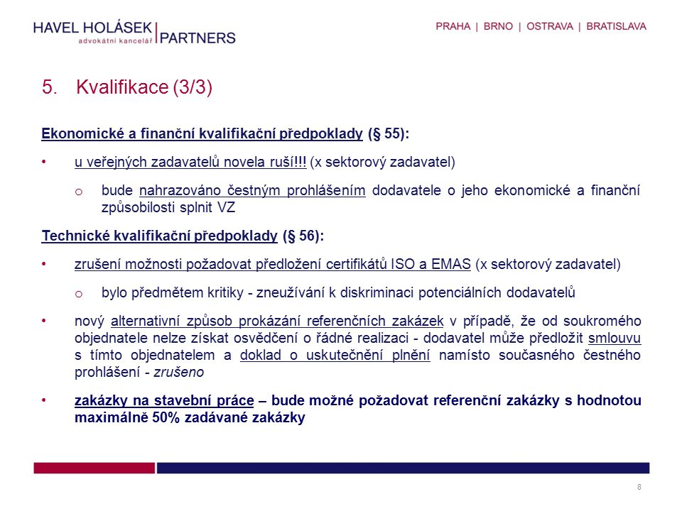 """Protokol o posouzení kvalifikace – upřesnění náležitostí: nově musí protokol o posouzení kvalifikace obsahovat o identifikační údaje dodavatelů, jejichž kvalifikace byla posuzována o seznam dokladů, kterými uchazeči prokazovali technické kvalifikační předpoklady o údaj o tom, zda uchazeč splnění kvalifikace prokázal nebo neprokázal Zadavatel v """"seznamu dokladů uvede: název dokladu označení osoby, která doklad vyhotovila datum vyhotovení u požadovaných seznamů referenčních zakázek označení dodávek, služeb či stavebních prací poskytnutých dodavatelem identifikační údaje subdodavatele, prostřednictvím kterého dodavatel prokazuje kvalifikaci, a název a datum uzavření subdodavatelské smlouvy dodavatele, které zadavatel vyzval k doplnění kvalifikace a označení dokladů, které byly k prokázání kvalifikace doloženy dodatečně 6.Posouzení kvalifikace (§ 59) 9"""