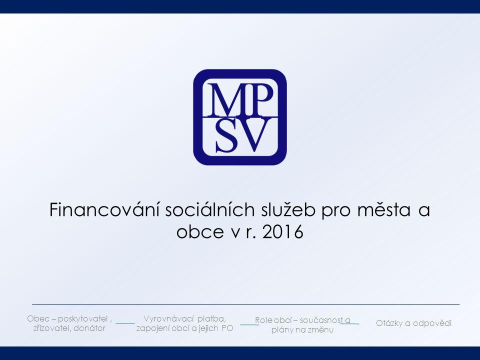 Financování sociálních služeb pro města a obce v r.