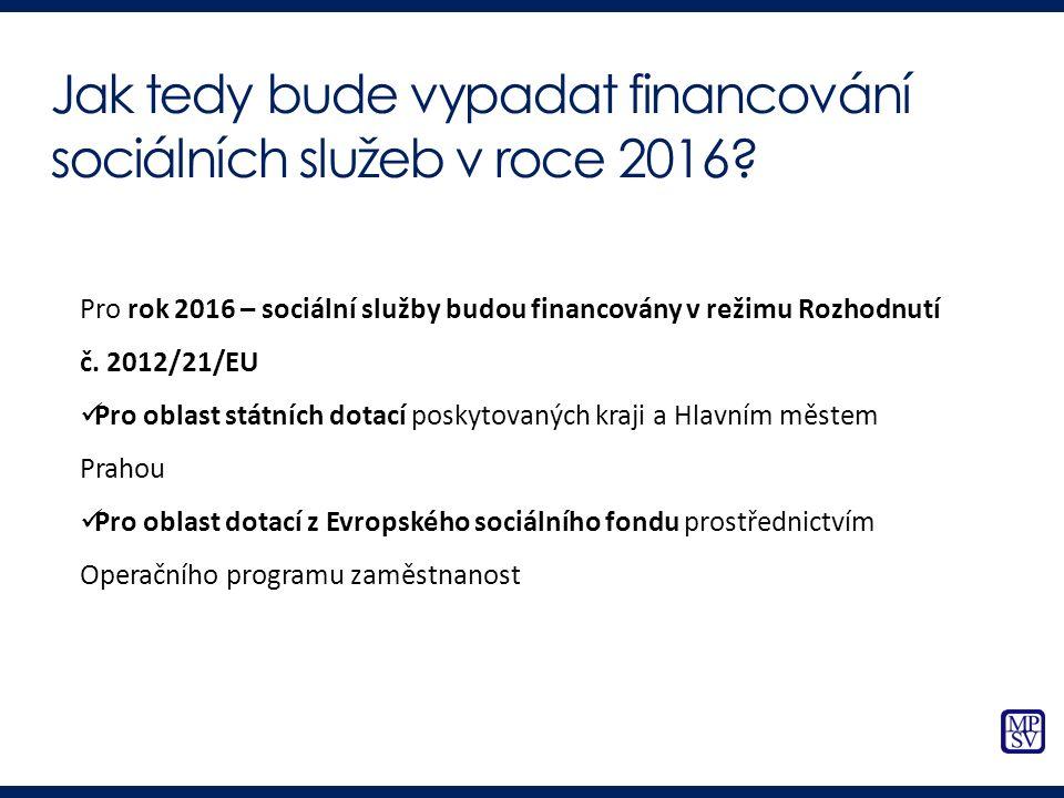 Pro rok 2016 – sociální služby budou financovány v režimu Rozhodnutí č. 2012/21/EU Pro oblast státních dotací poskytovaných kraji a Hlavním městem Pra