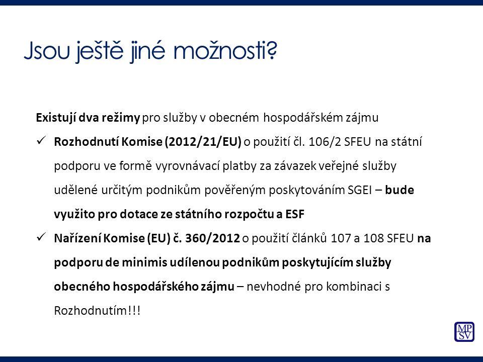 Existují dva režimy pro služby v obecném hospodářském zájmu Rozhodnutí Komise (2012/21/EU) o použití čl. 106/2 SFEU na státní podporu ve formě vyrovná