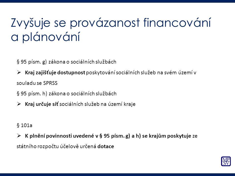 Zvyšuje se provázanost financování a plánování § 95 písm. g) zákona o sociálních službách  Kraj zajišťuje dostupnost poskytování sociálních služeb na