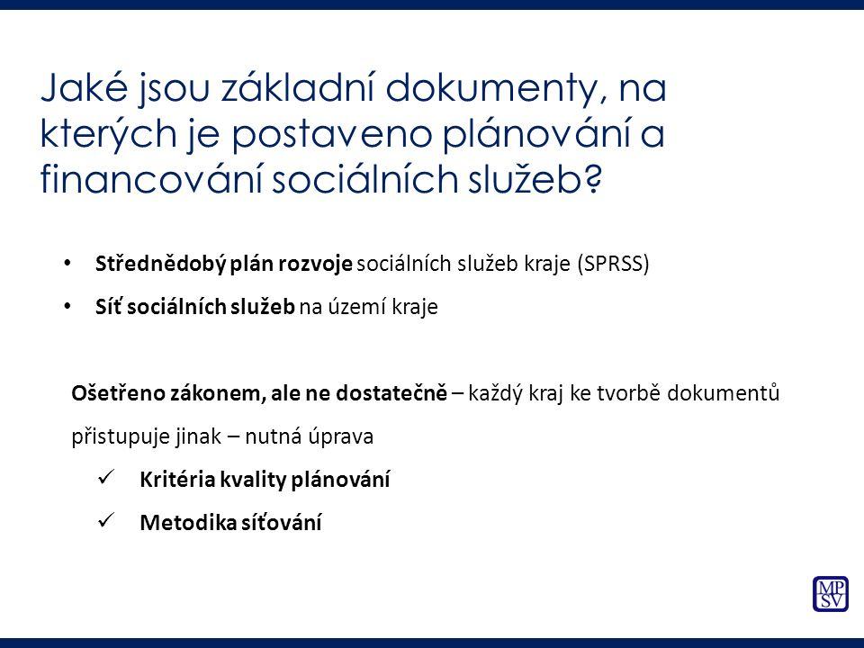 Jaké jsou základní dokumenty, na kterých je postaveno plánování a financování sociálních služeb? Střednědobý plán rozvoje sociálních služeb kraje (SPR