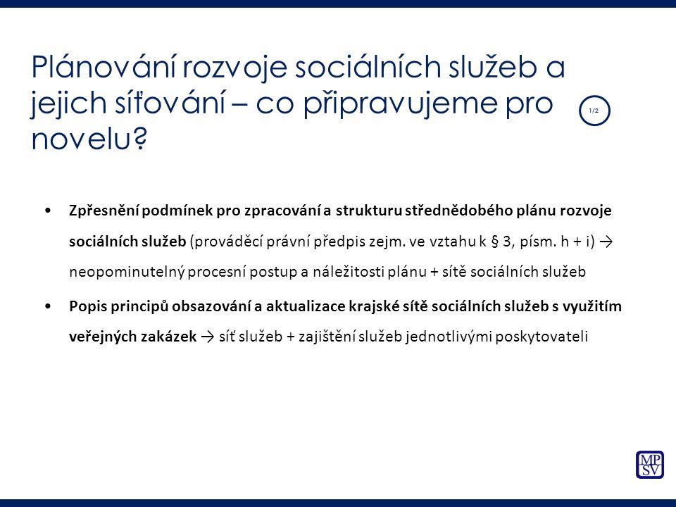 Zpřesnění podmínek pro zpracování a strukturu střednědobého plánu rozvoje sociálních služeb (prováděcí právní předpis zejm. ve vztahu k § 3, písm. h +