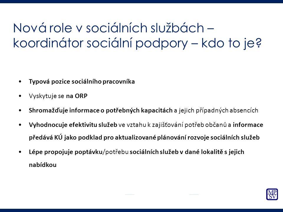 Typová pozice sociálního pracovníka Vyskytuje se na ORP Shromažďuje informace o potřebných kapacitách a jejich případných absencích Vyhodnocuje efektivitu služeb ve vztahu k zajišťování potřeb občanů a informace předává KÚ jako podklad pro aktualizované plánování rozvoje sociálních služeb Lépe propojuje poptávku/potřebu sociálních služeb v dané lokalitě s jejich nabídkou Nová role v sociálních službách – koordinátor sociální podpory – kdo to je