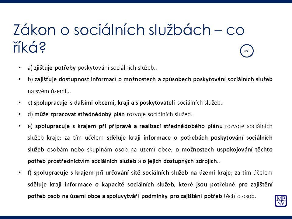 a) zjišťuje potřeby poskytování sociálních služeb.. b) zajišťuje dostupnost informací o možnostech a způsobech poskytování sociálních služeb na svém ú