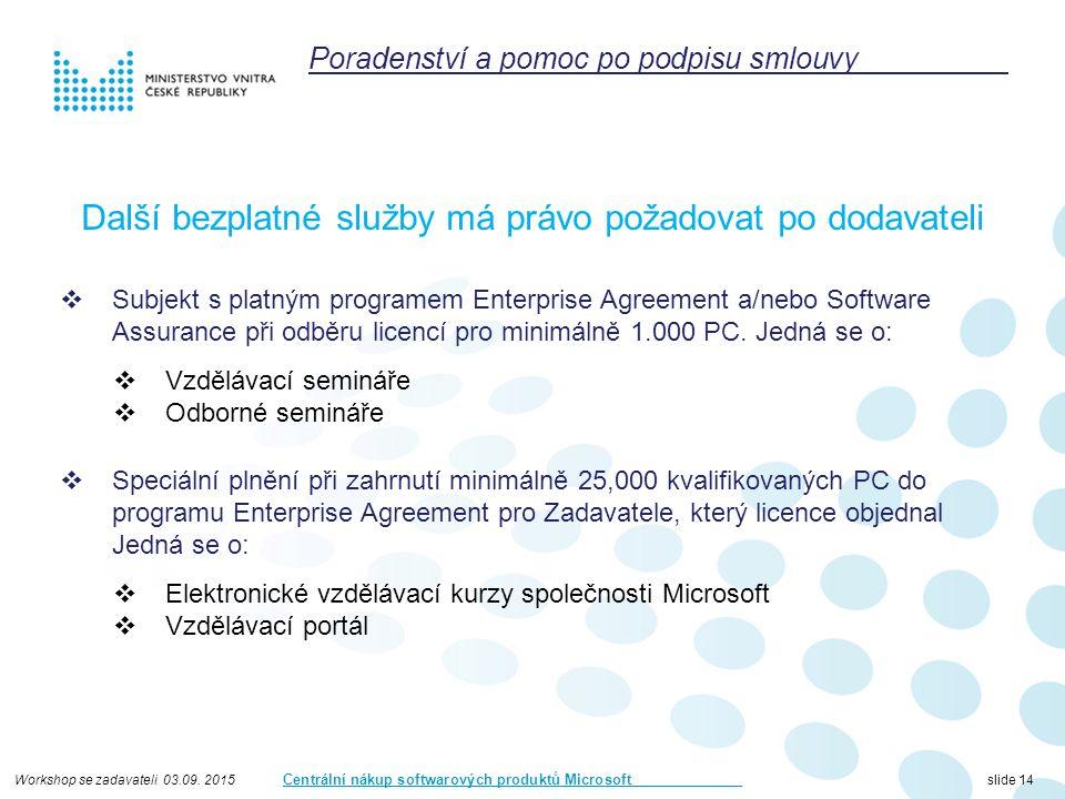 Workshop se zadavateli 03.09. 2015 Centrální nákup softwarových produktů Microsoft slide 14 Další bezplatné služby má právo požadovat po dodavateli 