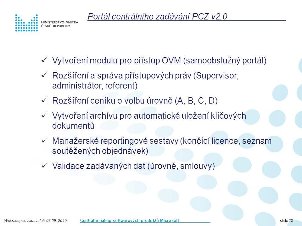 Workshop se zadavateli 03.09. 2015 Centrální nákup softwarových produktů Microsoft slide 28 Portál centrálního zadávání PCZ v2.0 Vytvoření modulu pro
