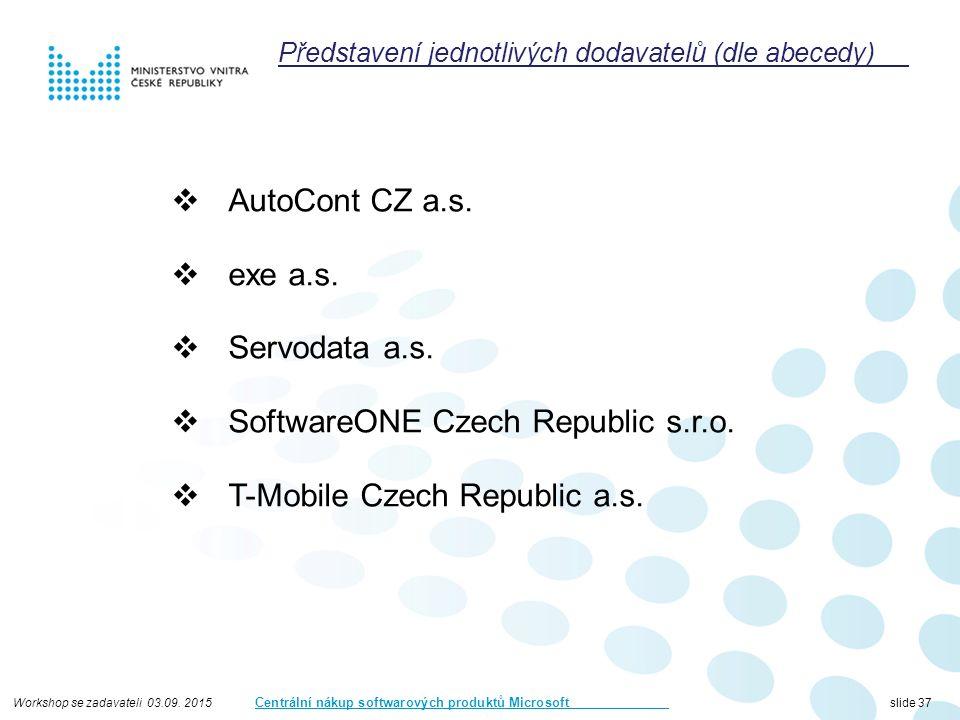 Workshop se zadavateli 03.09. 2015 Centrální nákup softwarových produktů Microsoft slide 37  AutoCont CZ a.s.  exe a.s.  Servodata a.s.  SoftwareO