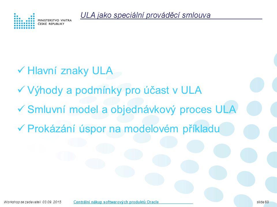 Workshop se zadavateli 03.09. 2015 Centrální nákup softwarových produktů Oracle slide 60 Hlavní znaky ULA Výhody a podmínky pro účast v ULA Smluvní mo