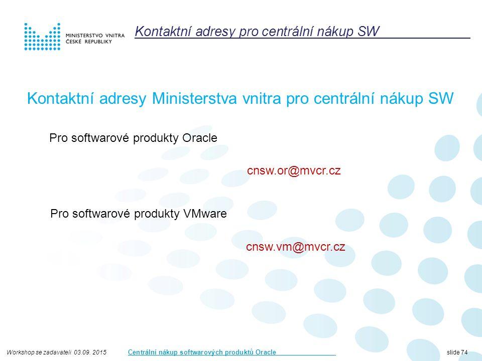 Workshop se zadavateli 03.09. 2015 Centrální nákup softwarových produktů Oracle slide 74 Kontaktní adresy pro centrální nákup SW Kontaktní adresy Mini