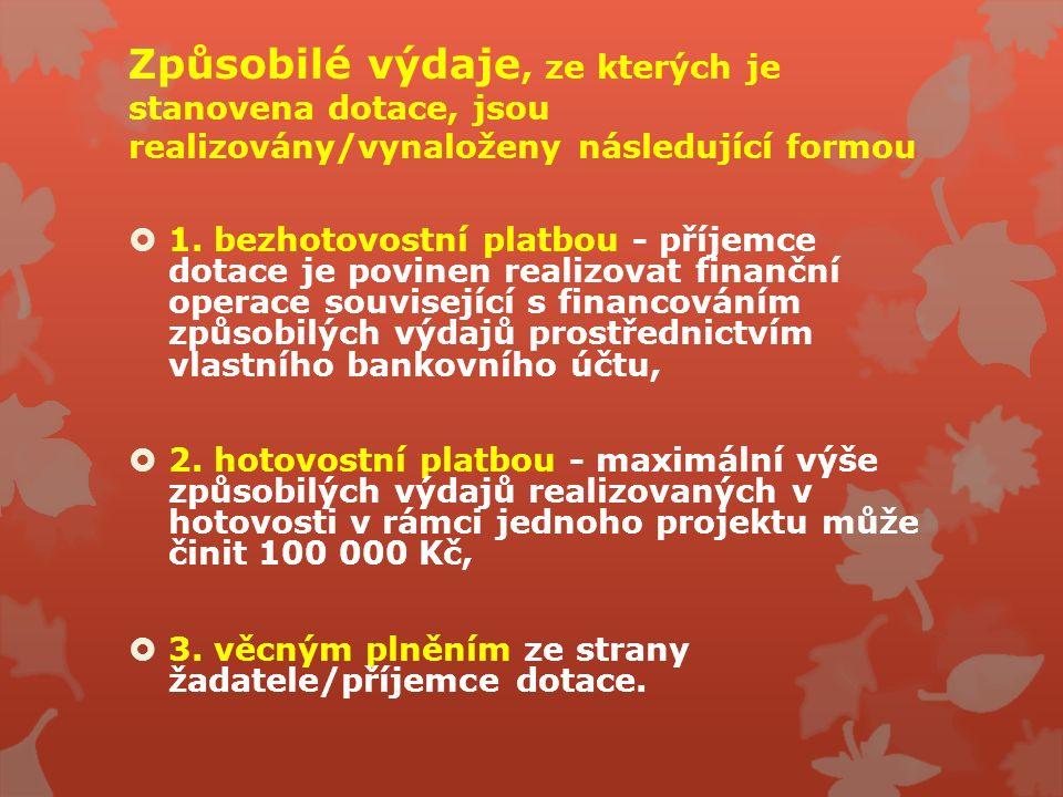 Způsobilé výdaje, ze kterých je stanovena dotace, jsou realizovány/vynaloženy následující formou  1. bezhotovostní platbou - příjemce dotace je povin
