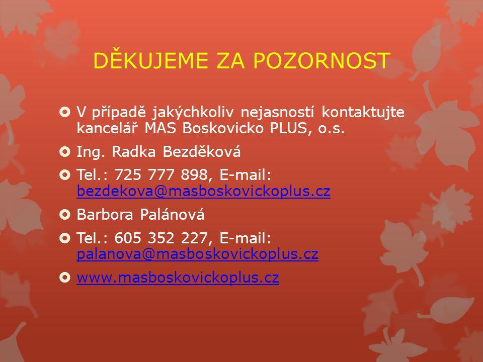 DĚKUJEME ZA POZORNOST  V případě jakýchkoliv nejasností kontaktujte kancelář MAS Boskovicko PLUS, o.s.  Ing. Radka Bezděková  Tel.: 725 777 898, E-