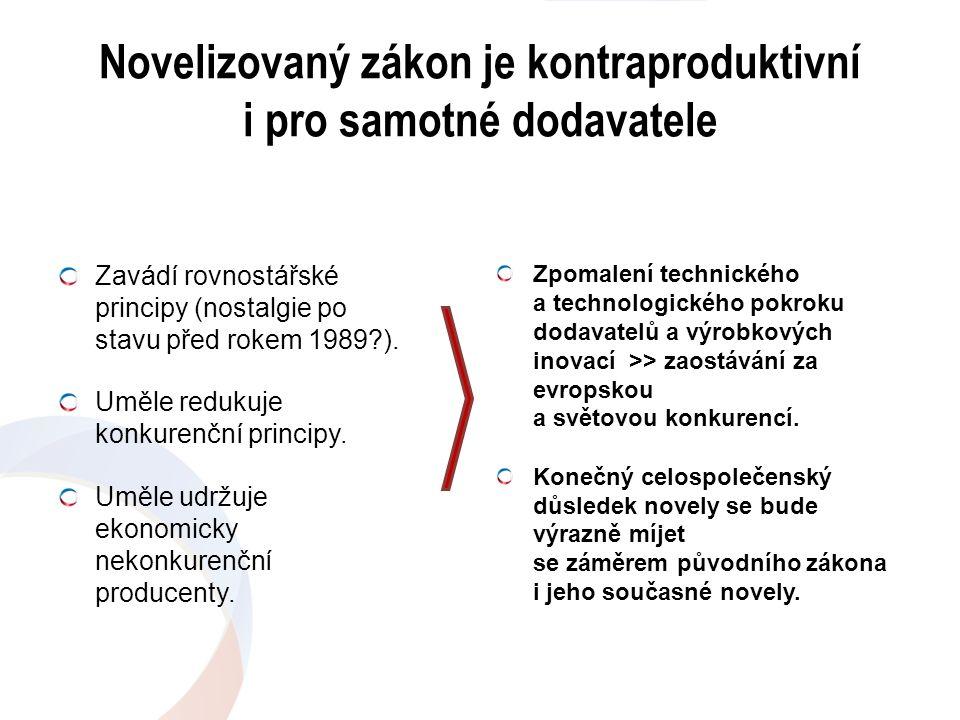 Novelizovaný zákon je kontraproduktivní i pro samotné dodavatele Zavádí rovnostářské principy (nostalgie po stavu před rokem 1989?). Uměle redukuje ko
