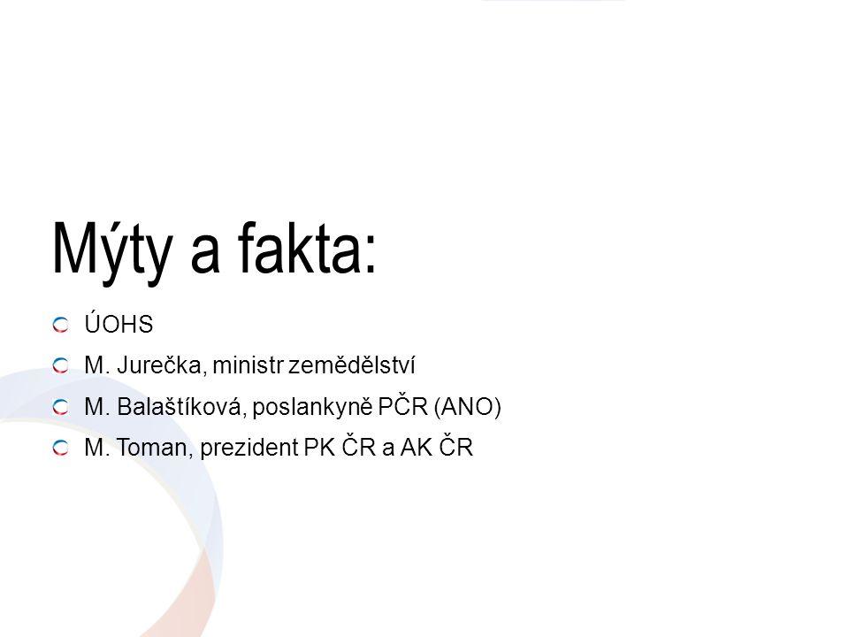 Mýty a fakta: ÚOHS M. Jurečka, ministr zemědělství M. Balaštíková, poslankyně PČR (ANO) M. Toman, prezident PK ČR a AK ČR