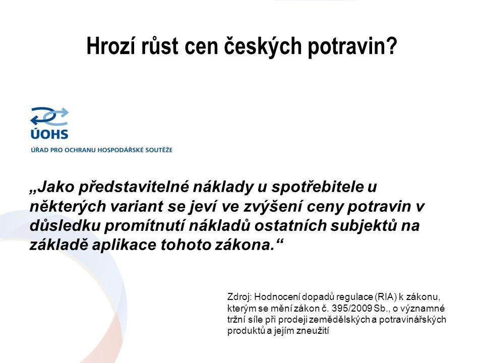 """Hrozí růst cen českých potravin? """"Jako představitelné náklady u spotřebitele u některých variant se jeví ve zvýšení ceny potravin v důsledku promítnut"""