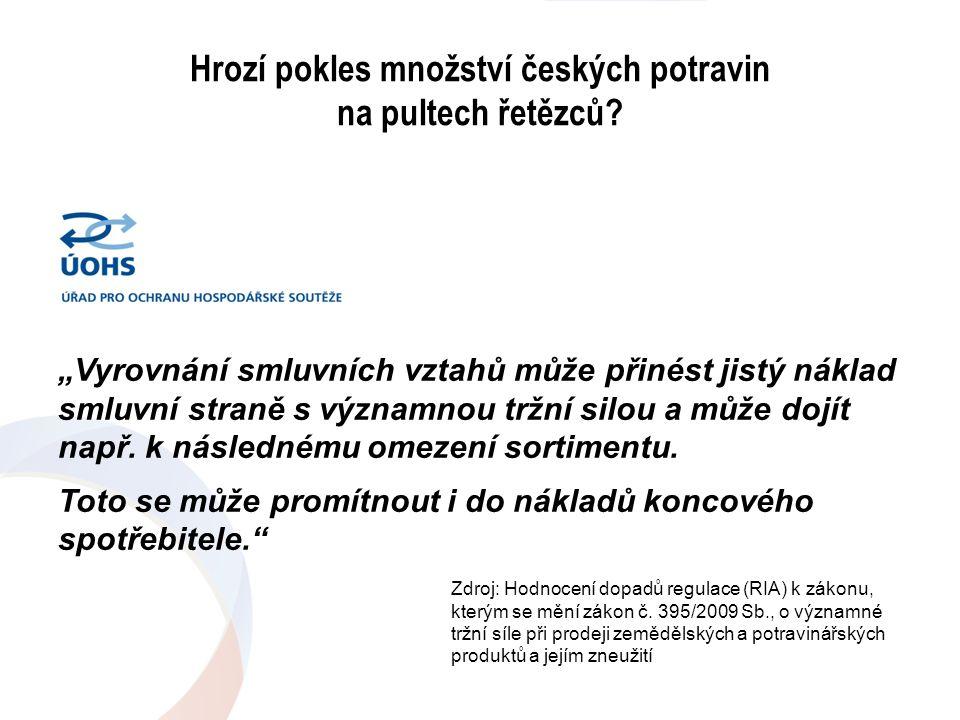 """Hrozí pokles množství českých potravin na pultech řetězců? """"Vyrovnání smluvních vztahů může přinést jistý náklad smluvní straně s významnou tržní silo"""
