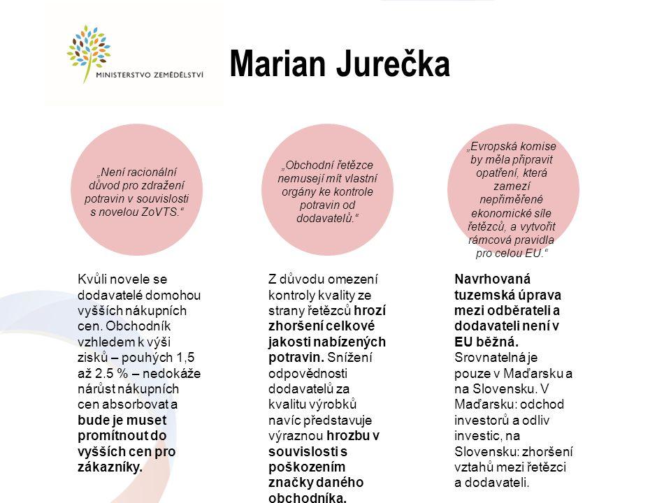 Marian Jurečka Kvůli novele se dodavatelé domohou vyšších nákupních cen. Obchodník vzhledem k výši zisků – pouhých 1,5 až 2.5 % – nedokáže nárůst náku