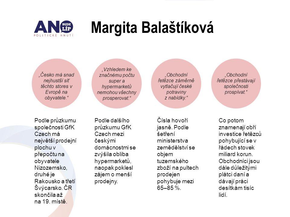 """Margita Balaštíková """"Česko má snad nejhustší síť těchto stores v Evropě na obyvatele."""" """"Vzhledem ke značnému počtu super a hypermarketů nemohou všechn"""