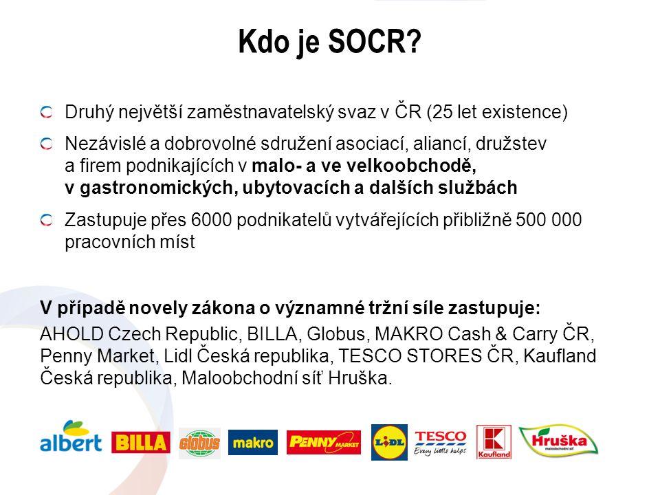 Kdo je SOCR? Druhý největší zaměstnavatelský svaz v ČR (25 let existence) Nezávislé a dobrovolné sdružení asociací, aliancí, družstev a firem podnikaj