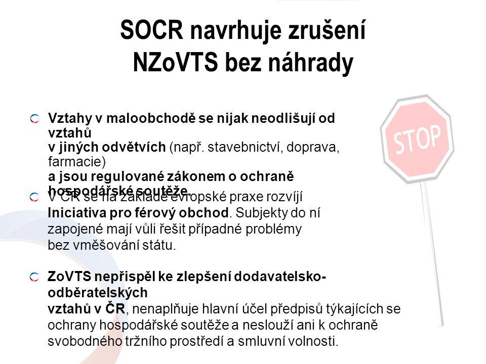 SOCR navrhuje zrušení NZoVTS bez náhrady V ČR se na základě evropské praxe rozvíjí Iniciativa pro férový obchod. Subjekty do ní zapojené mají vůli řeš