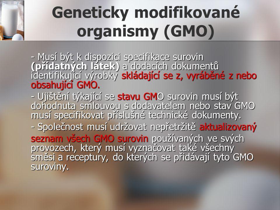 Geneticky modifikované organismy (GMO) - Musí být k dispozici specifikace surovin (přídatných látek) a dodacích dokumentů identifikující výrobky sklád