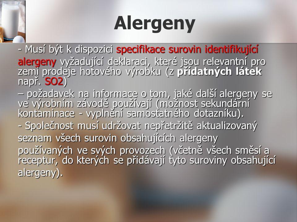 Alergeny - Musí být k dispozici specifikace surovin identifikující alergeny vyžadující deklaraci, které jsou relevantní pro zemi prodeje hotového výro