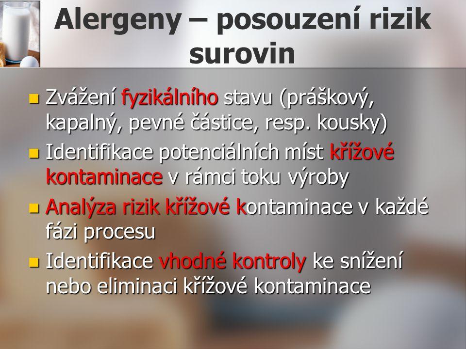 Alergeny – posouzení rizik surovin Zvážení fyzikálního stavu (práškový, kapalný, pevné částice, resp. kousky) Zvážení fyzikálního stavu (práškový, kap