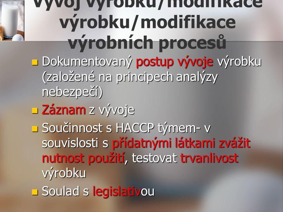 Vývoj výrobku/modifikace výrobku/modifikace výrobních procesů Dokumentovaný postup vývoje výrobku (založené na principech analýzy nebezpečí) Dokumento