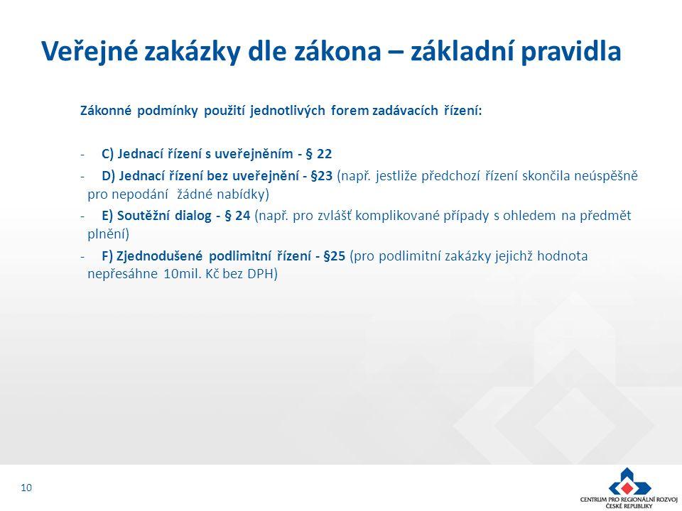 Zákonné podmínky použití jednotlivých forem zadávacích řízení: -C) Jednací řízení s uveřejněním - § 22 -D) Jednací řízení bez uveřejnění - §23 (např.