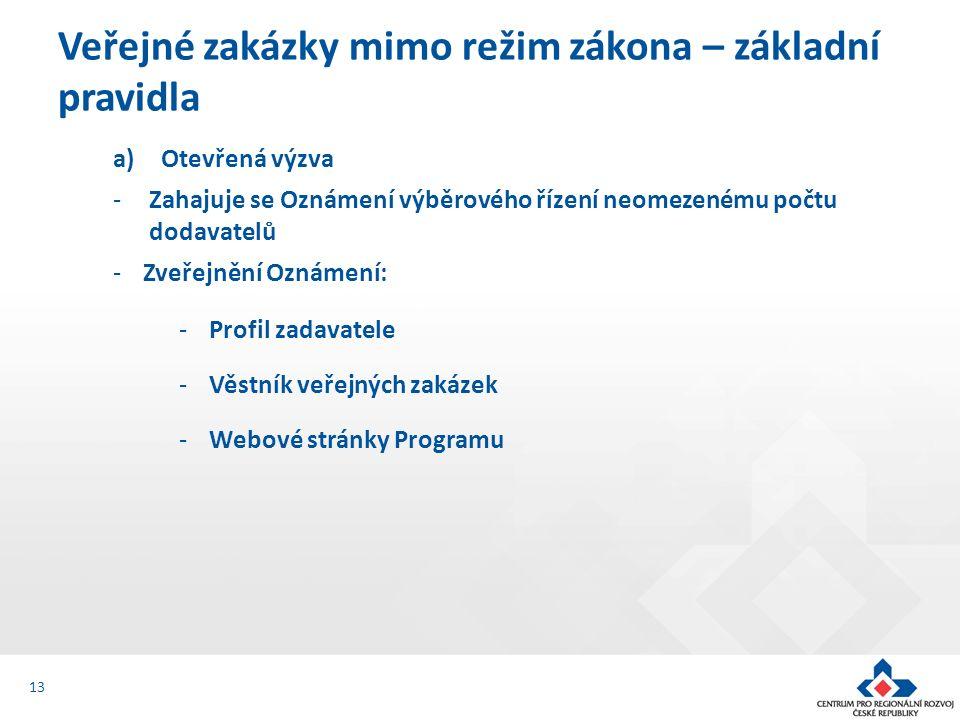 a)Otevřená výzva -Zahajuje se Oznámení výběrového řízení neomezenému počtu dodavatelů -Zveřejnění Oznámení: -Profil zadavatele -Věstník veřejných zakázek -Webové stránky Programu Veřejné zakázky mimo režim zákona – základní pravidla 13
