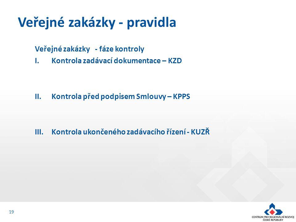 Veřejné zakázky - fáze kontroly I.Kontrola zadávací dokumentace – KZD II.Kontrola před podpisem Smlouvy – KPPS III.Kontrola ukončeného zadávacího řízení - KUZŘ Veřejné zakázky - pravidla 19