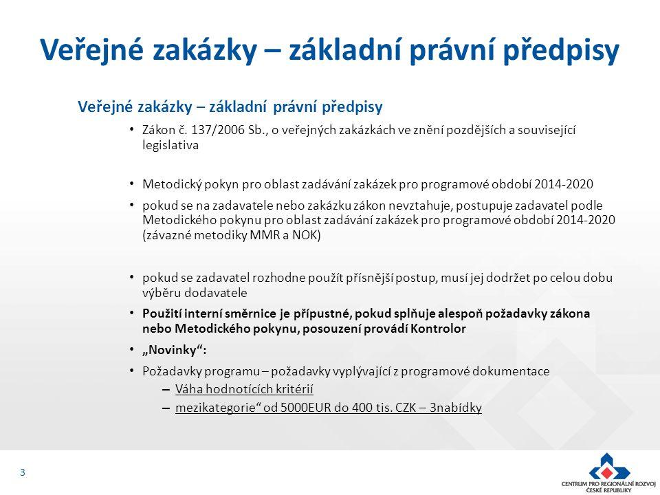 Veřejné zakázky – základní právní předpisy Zákon č.