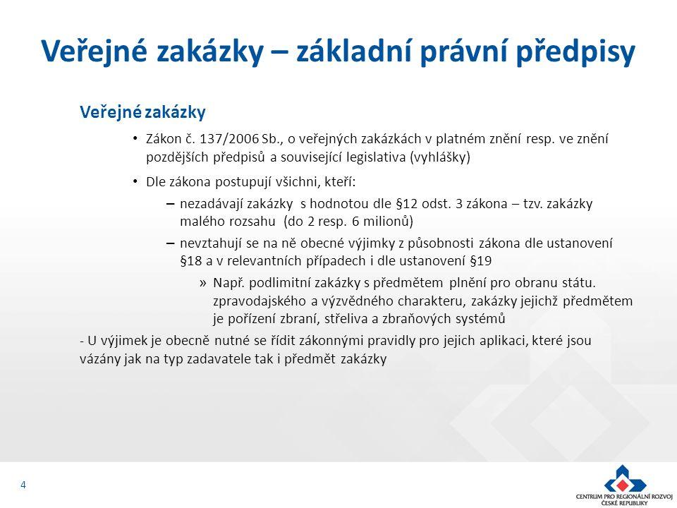 Veřejné zakázky Zákon č.137/2006 Sb., o veřejných zakázkách v platném znění resp.