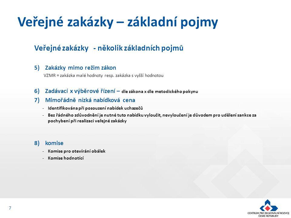 Veřejné zakázky - několik základních pojmů 5)Zakázky mimo režim zákon VZMR = zakázka malé hodnoty resp.