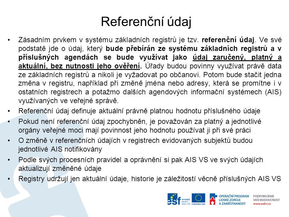 Referenční údaj Zásadním prvkem v systému základních registrů je tzv.