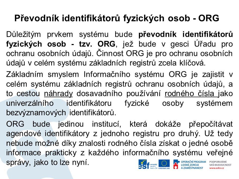 Převodník identifikátorů fyzických osob - ORG Důležitým prvkem systému bude převodník identifikátorů fyzických osob - tzv.