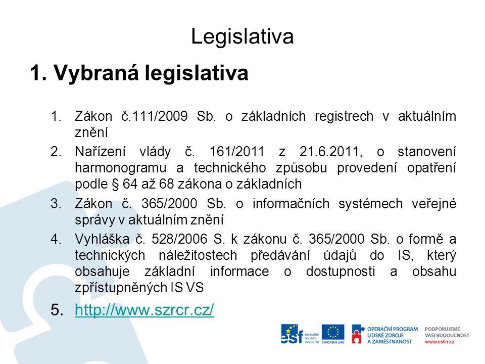 Legislativa 1.Vybraná legislativa 1.Zákon č.111/2009 Sb.