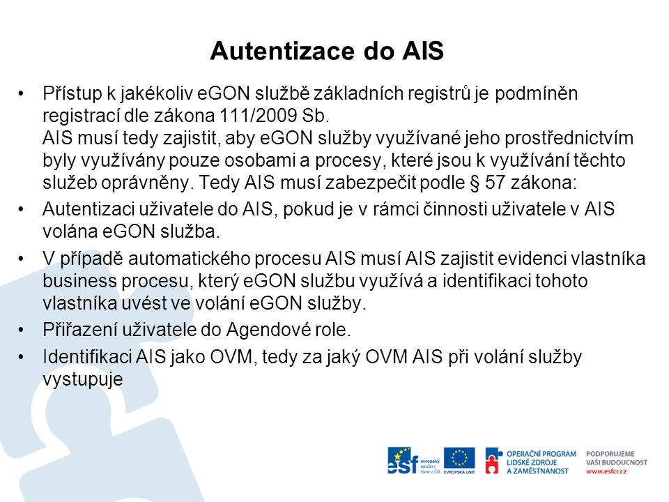 Autentizace do AIS Přístup k jakékoliv eGON službě základních registrů je podmíněn registrací dle zákona 111/2009 Sb.